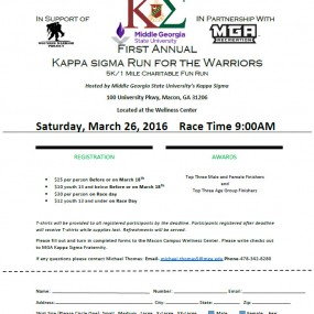 Kappa Sigma Run for the Warriors 5K and 1 Mile